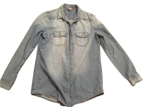Rubbish Button Down Shirt Blue Denim