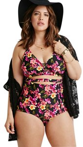 Forever 21 Forever 21 Plus Black Pink Floral High Waisted Bikini Set 2pcs 2x