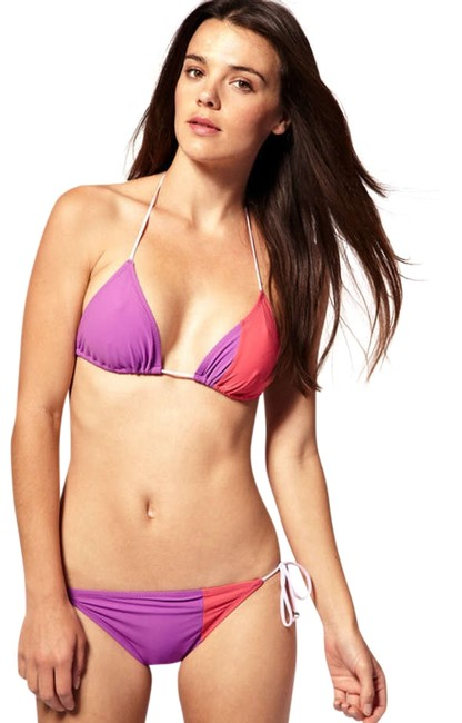 Marc Jacobs marc by marc jacobs bikini set purple swimsuit pink color blocked