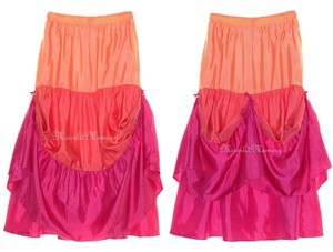 Garnet Hill Silk Maxi Full Maxi Skirt Orange, Coral, Pink