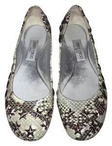 Jimmy Choo Western Star Studded Natural Snake Print Leather Flats
