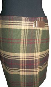 Jones New York Wool Plaid Fall Wrap Skirt browns