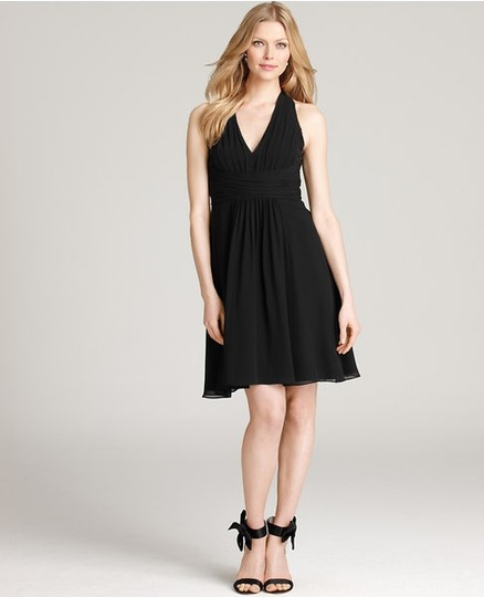 Ann Taylor Black Petite Silk Georgette Halter Neck Bridesmaid Dress Dress
