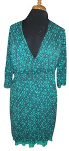 Boden short dress teal Fall Knit Print on Tradesy