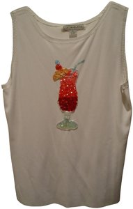 Lucia-Burns Top White Sequined/Beaded