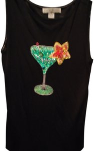 Lucia-Burns T Shirt Black Sequined/Beaded