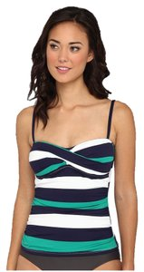 Tommy Bahama Tommy Bahama Women's Mare Rugby Stripe Twist Front Cup Tankini Top