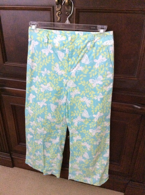 Lilly Pulitzer Wide Leg Pants Blue green and white