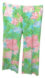 Lilly Pulitzer Wide Leg Pants Pink and green floral