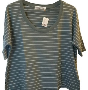 Urban Outfitters Project Social T T Shirt Green striped, white, gray