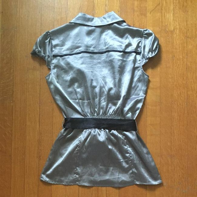 Body Central Shiny And Black Collared Button-up With Belt Top Silver