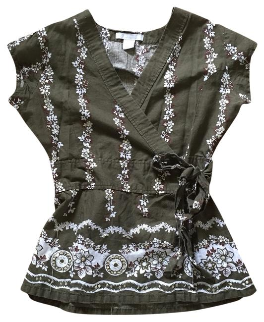 Charlotte Russe Sequin Green Olive Floral Flower Sequined Tunic Top Olive Green