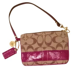 Coach Wristlet in Beige and Maroon