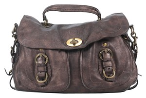 Coach Genuine Leather Satchel in Brass/Mahogany