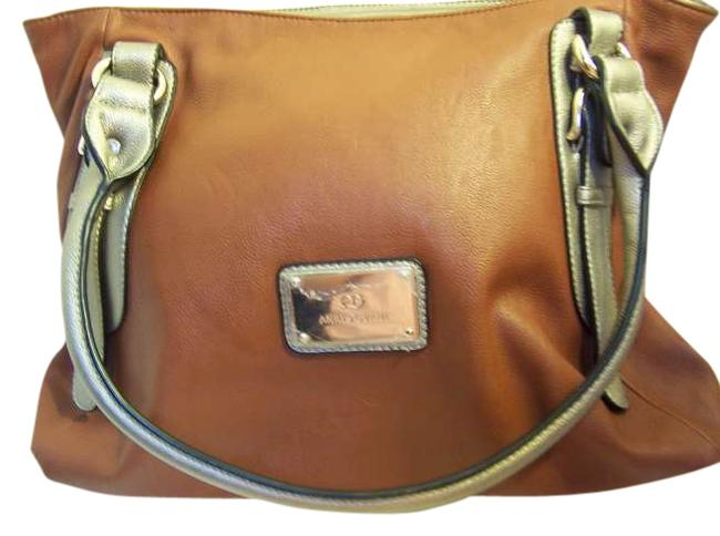 Item - Extra Large Two Saddle Brown/Silver Leather Tote