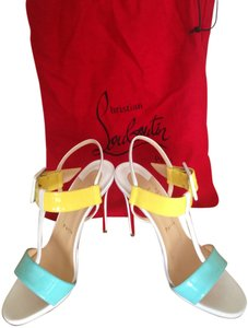 Christian Louboutin Color-blocking Stiletto Summer White, Aqua and yellow Pumps