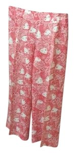 Lilly Pulitzer Wide Leg Pants Reddish orange and white