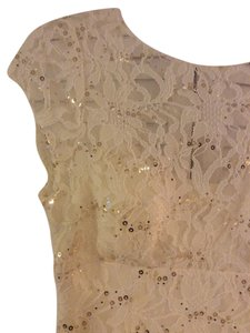 Adrianna Papell Lace Sequin Gold Bridal Formal Dress