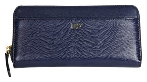 Diane von Furstenberg Zip Around Dark Navy Leather Blue Clutch