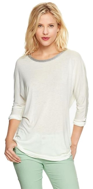 Preload https://item1.tradesy.com/images/gap-white-metallic-trim-silver-tee-long-sleeve-dolman-sleeve-xs-0-2-night-out-top-size-4-s-3556060-0-0.jpg?width=400&height=650