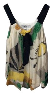 Tibi Top Black, cream, yellow and green
