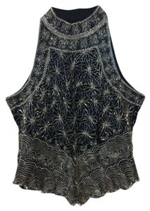 Laurence Kazar Beaded Made In India Silk Top Black with Silver beading