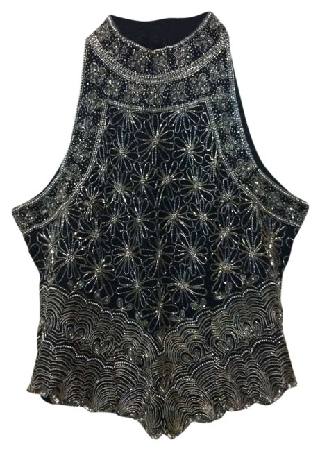 Laurence Kazar Made In India Silk Top Black with Silver beading