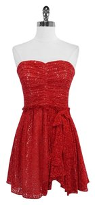 Jill Stuart short dress Red Lace Cotton Blend Strapless on Tradesy