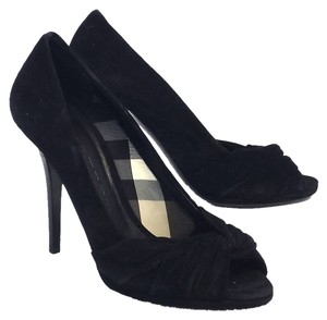 Burberry Suede Peep Toe Pumps