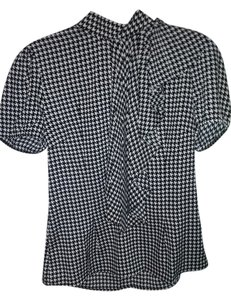 Sioni Top black and white houndstooth