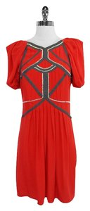 BCBGMAXAZRIA short dress Silk Red Silk Embellished on Tradesy