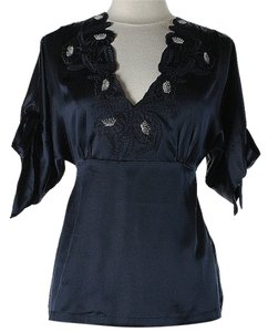 Paul & Joe Silk Applique Top Blue