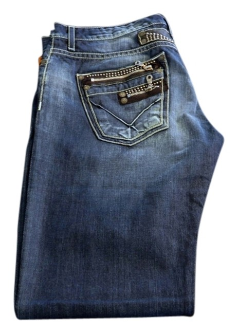 Robin's Jean Homme Dior Denim Raw Rrl Prps Japan Leather Boot Cut Jeans-Light Wash