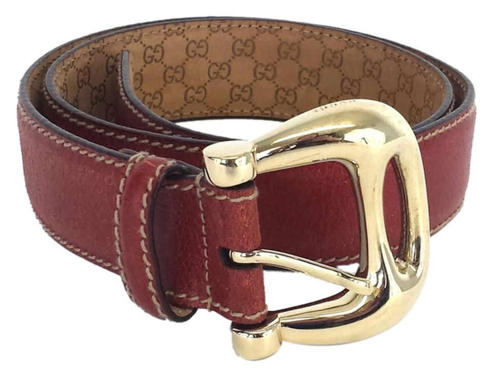b6feaa56e Gucci Gucci Brick Red Distressed Leather Belt Image 0 ...