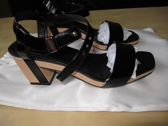 Roger Vivier Stacked Heel Patent Leather Limited Edition Black Sandals