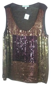 Pleione Sequin Glam Top Brown