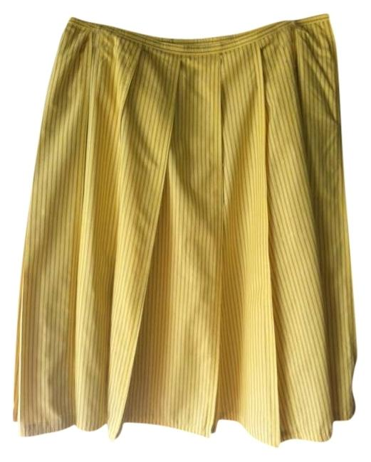 Express Pleated Skirt Yellow with Black Pinstripes