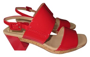 Roger Vivier Patent Leather Stacked Heel Made In Italy Brand New Red Sandals