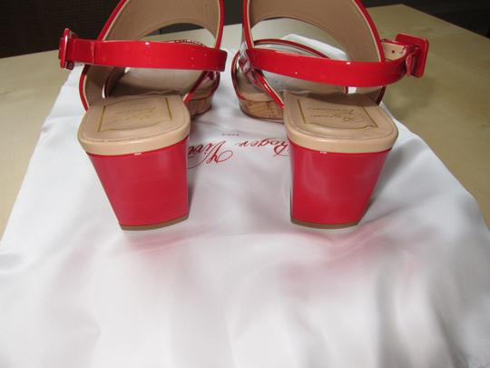 Roger Vivier Patent Leather Stacked Heel Made In Italy Red Sandals