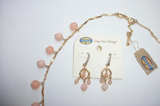 Fossil New! SET - Fossil Brand Peach Dyed Jade Beaded Gold Tone Necklace + Drop Earrings