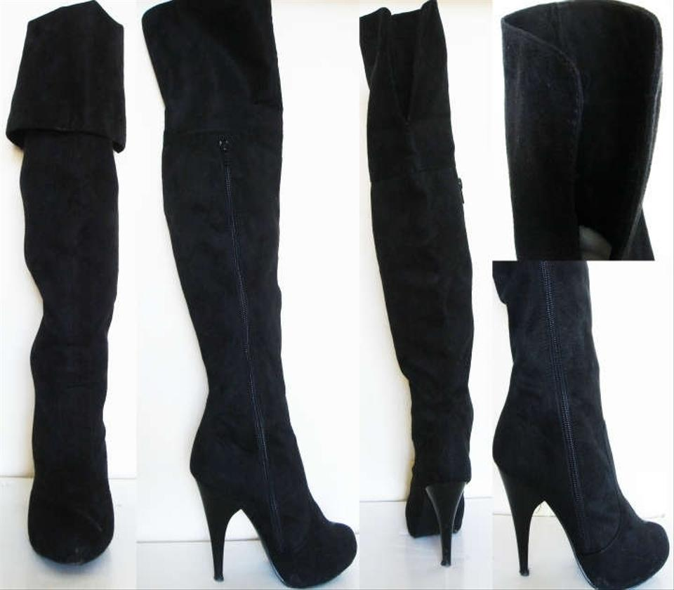 560d4132611 Charlotte Russe Forever 21 Women Suede Leather Platform Heels Thigh High  Wedge Tall Black Like Suedette .