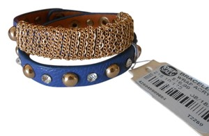 Def Salv Def Salv Blue & Gold Studs, Rhinestones & Chain Leather Wrap Bracelet