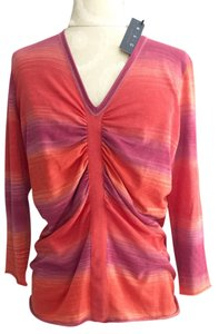 Magaschoni V-neck Pink Orange Watermelon Nwt Sweater