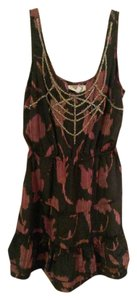 Urban Outfitters short dress Black with maroon & beaded detail Comfortable Silky on Tradesy