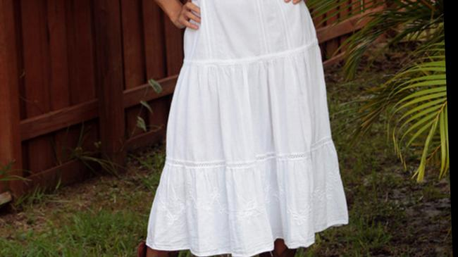 White Maxi Dress by Lirome Crochet Embroidered Country Summer Sundress