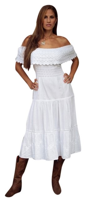 White Maxi Dress by Lirome Crochet Embroidered Western Off Shoulders Summer