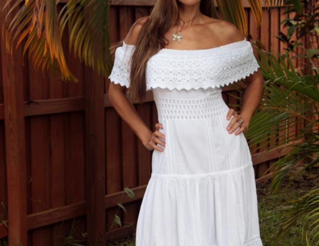 White Maxi Dress by Lirome Bohemian Summer Resort Vacation Cottage Chic