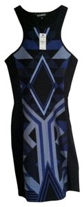Express short dress Blue and Black (xs) on Tradesy