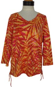 Caribbean Joe Top Poppy Orange Tropical Print