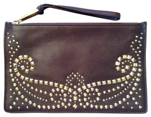 Michael Kors Studded With Zipper And Wrist Strap Style # 32f4graw3l New Without Tag Never Been Carried Dark Brown Clutch